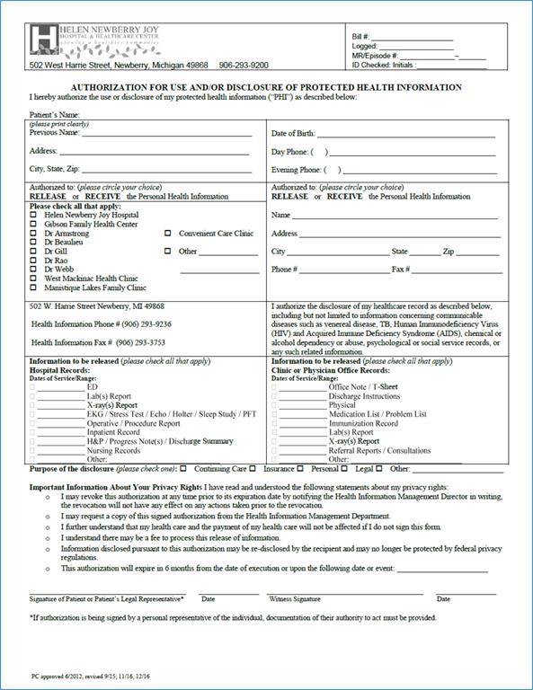 Helen Newberry Joy Hospital  Personal Information Release Form
